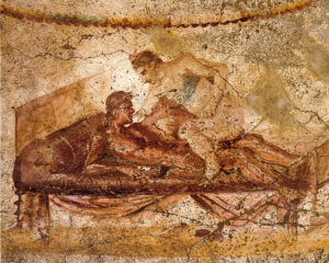Sexual scene from a wall painting at the Lupanar