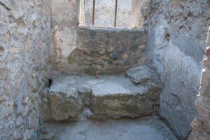 An excavated brothel room in Pompeii.