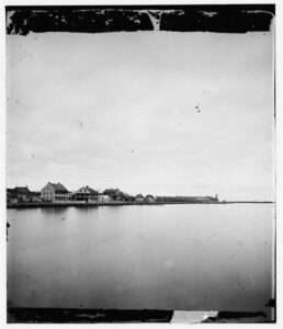 St. Augustine waterfront with Castillo de San Marcos in distance (1860s).