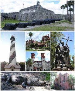 Top, left to right: Castillo de San Marcos, St. Augustine Light, Flagler College, Lightner Museum, statue near the Cathedral Basilica of St. Augustine, St. Augustine Alligator Farm Zoological Park, Old St. Johns County Jail