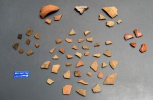 16th century native and Spanish potsherds were unearthed in what is now a residential yard, evidence, University of West Florida archaeologists say, of the oldest multi-year settlement by Europeans in what became the United States.