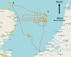Route of the research vessel showing areas of detailed survey around Doggerland.