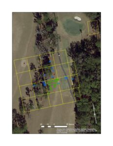 """This aerial photo shows the underground """"anomalies"""" that National Parks Service archaeologist Jeffrey Shanks says are likely graves on the seventh hole at Capital City Country Club in Tallahassee"""
