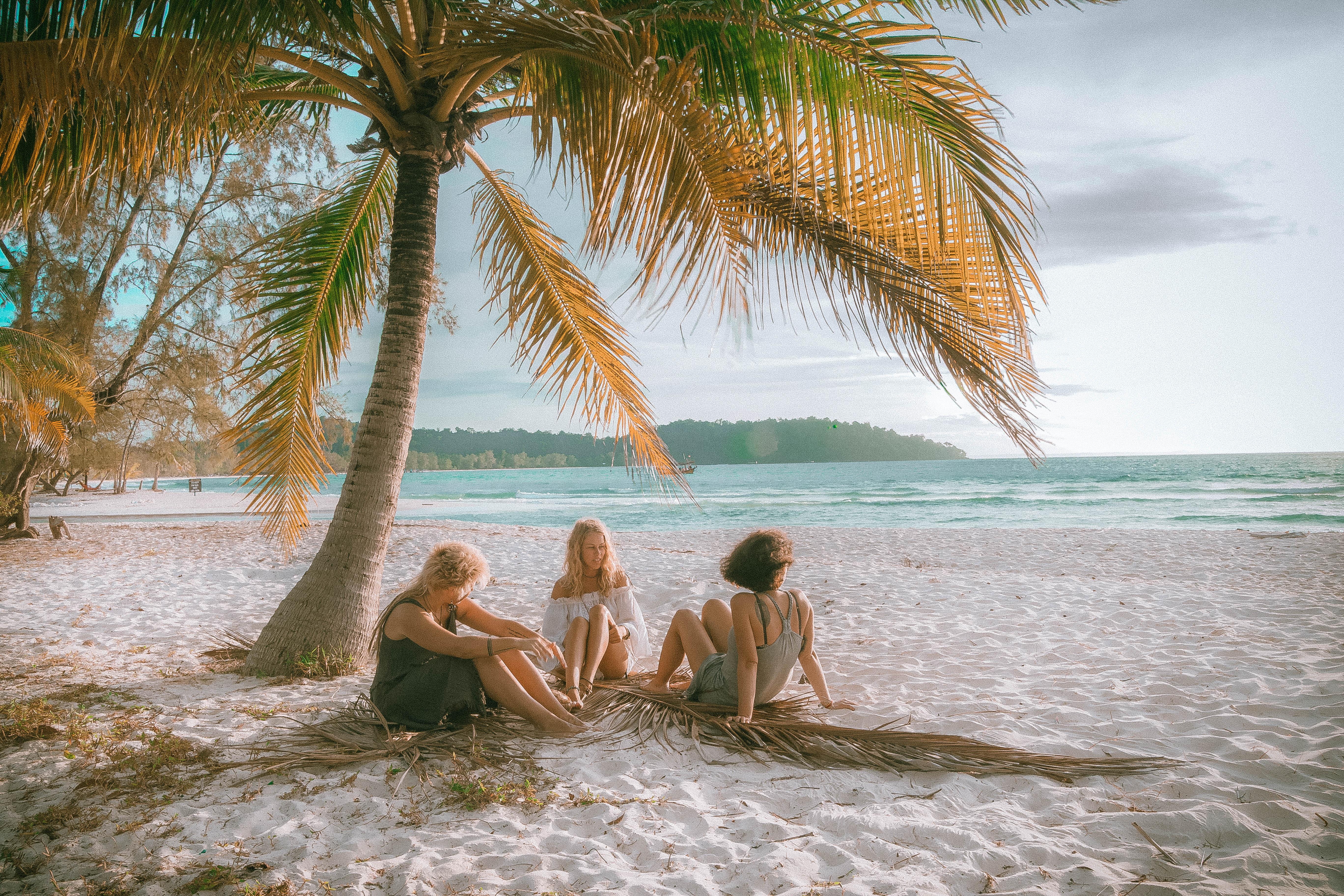 chilling on the white beach in kk beach koh rong island cambodia