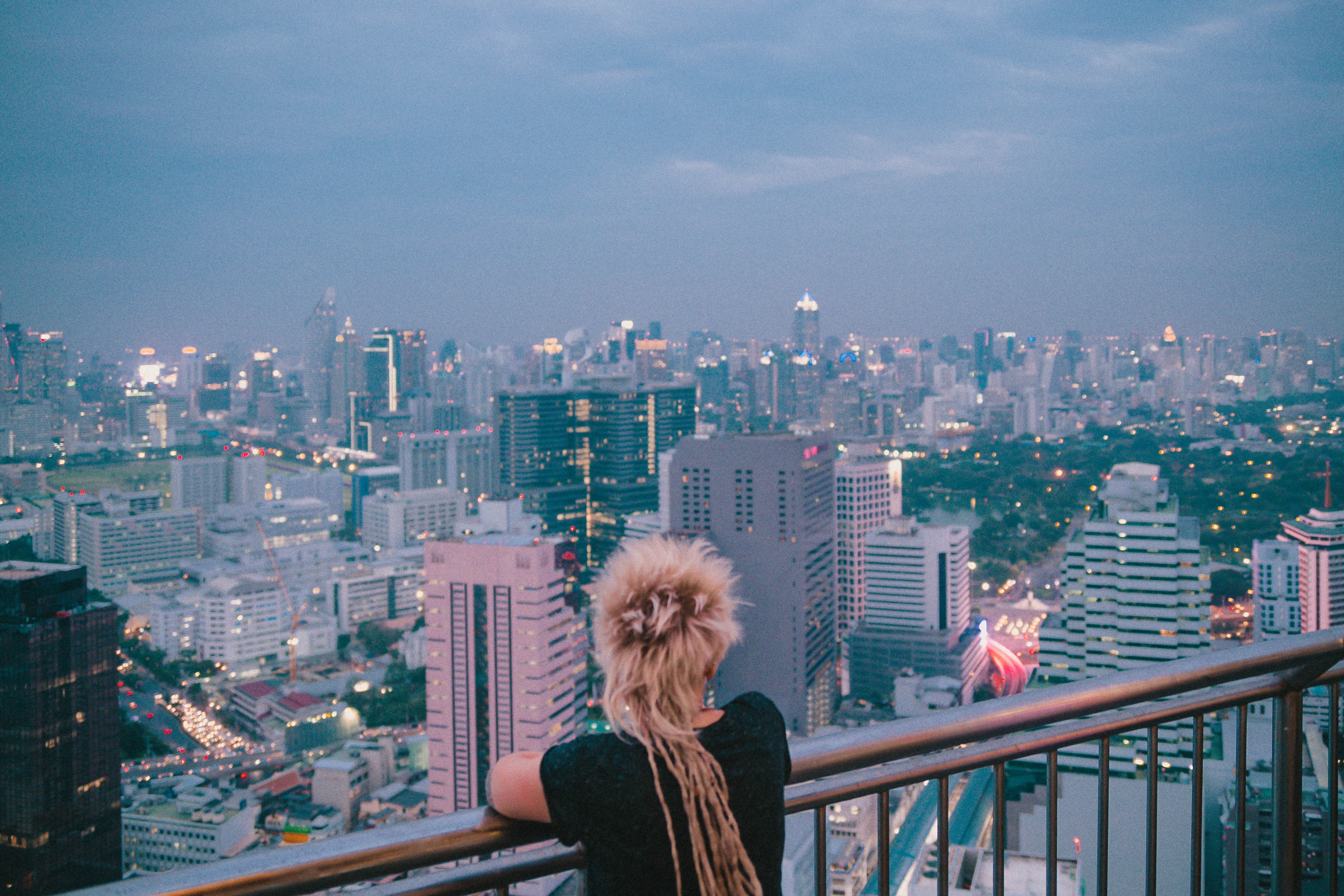 view from one of the skyscrapers in bangkok thailand south east asia city lights