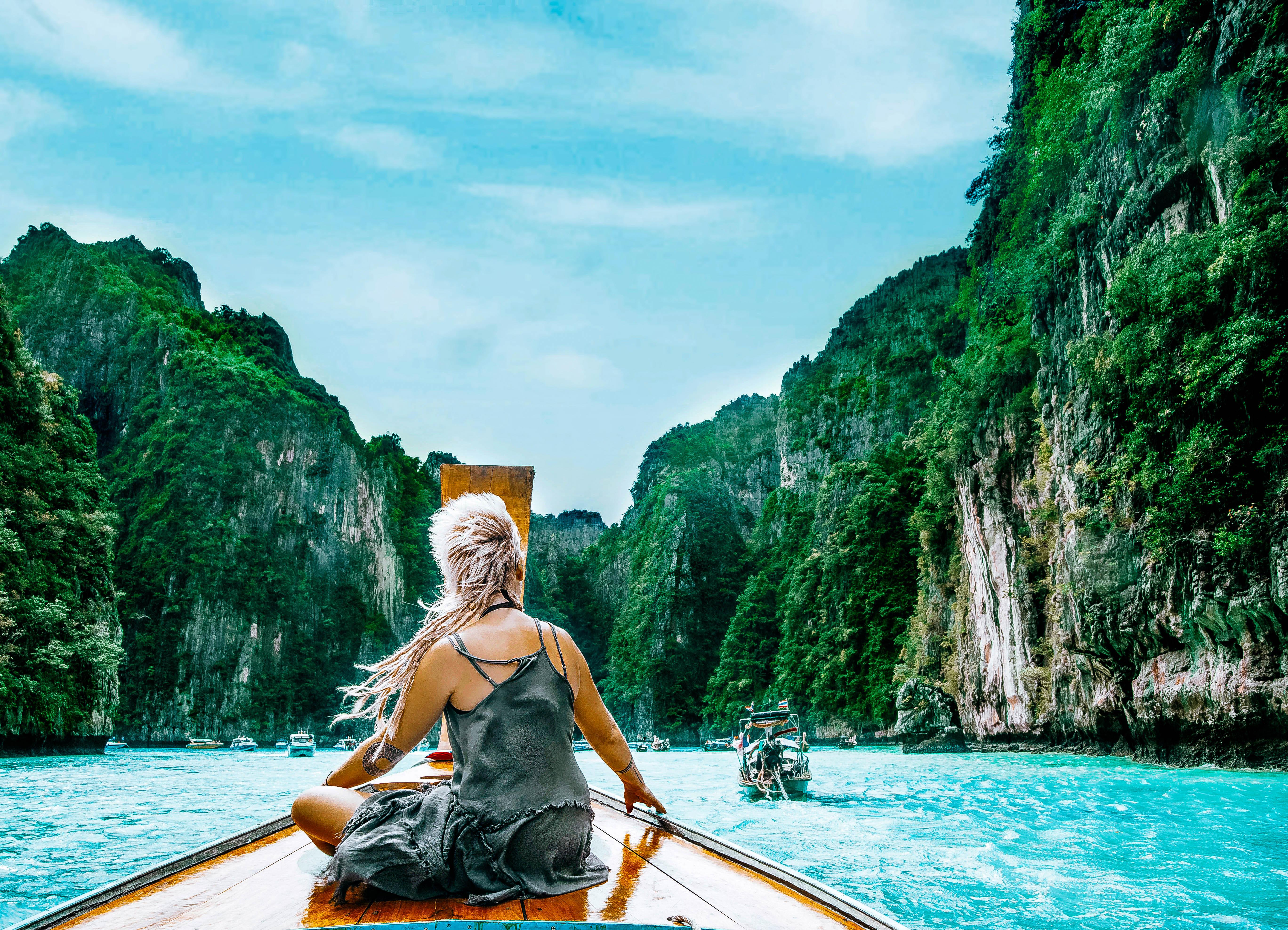 phi phi islands boat trip maya beach thailand south east asia water blue palms island hopping