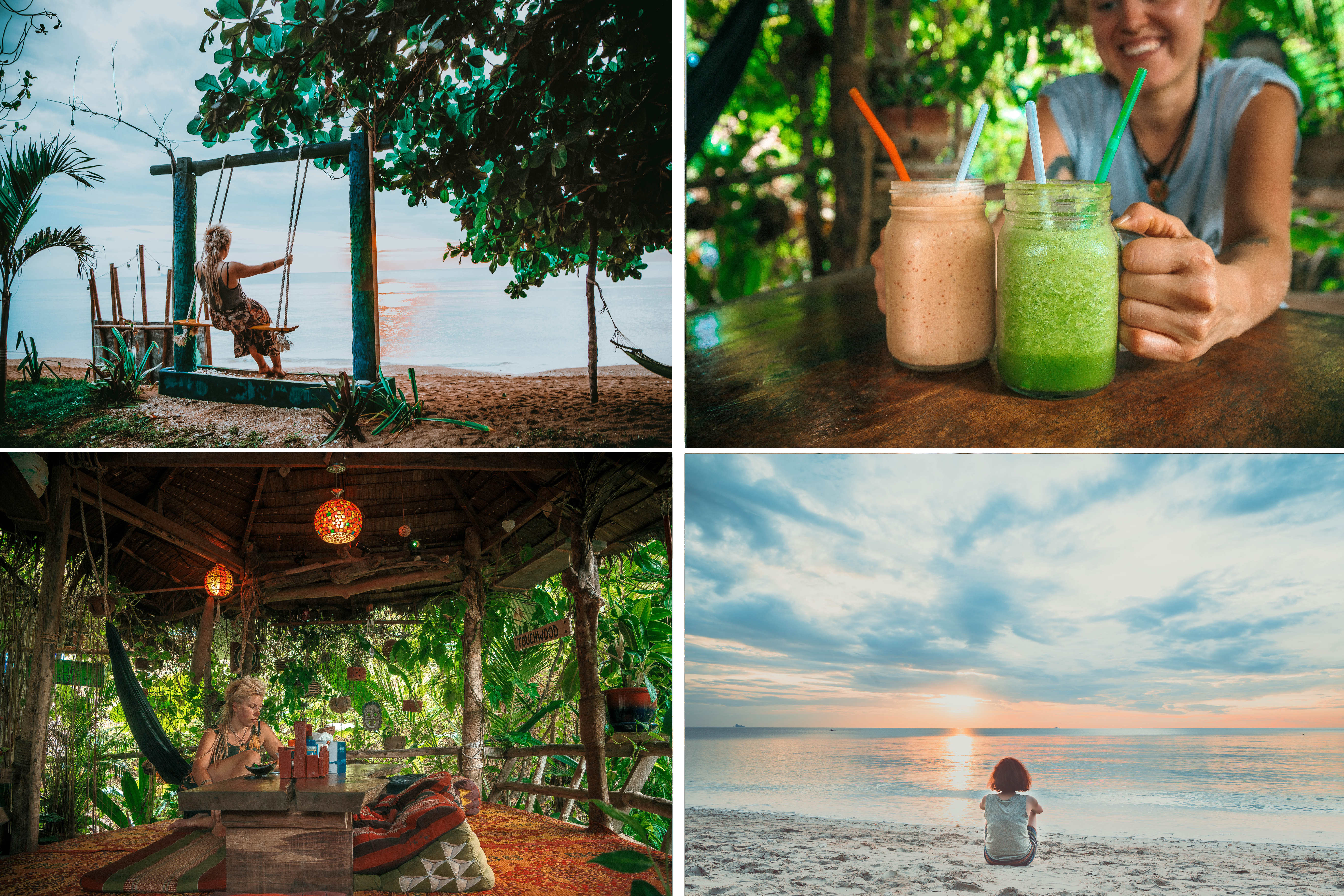 watcing magical sunset in koh lanta beach life vitamin sea drinking healthy smoothies