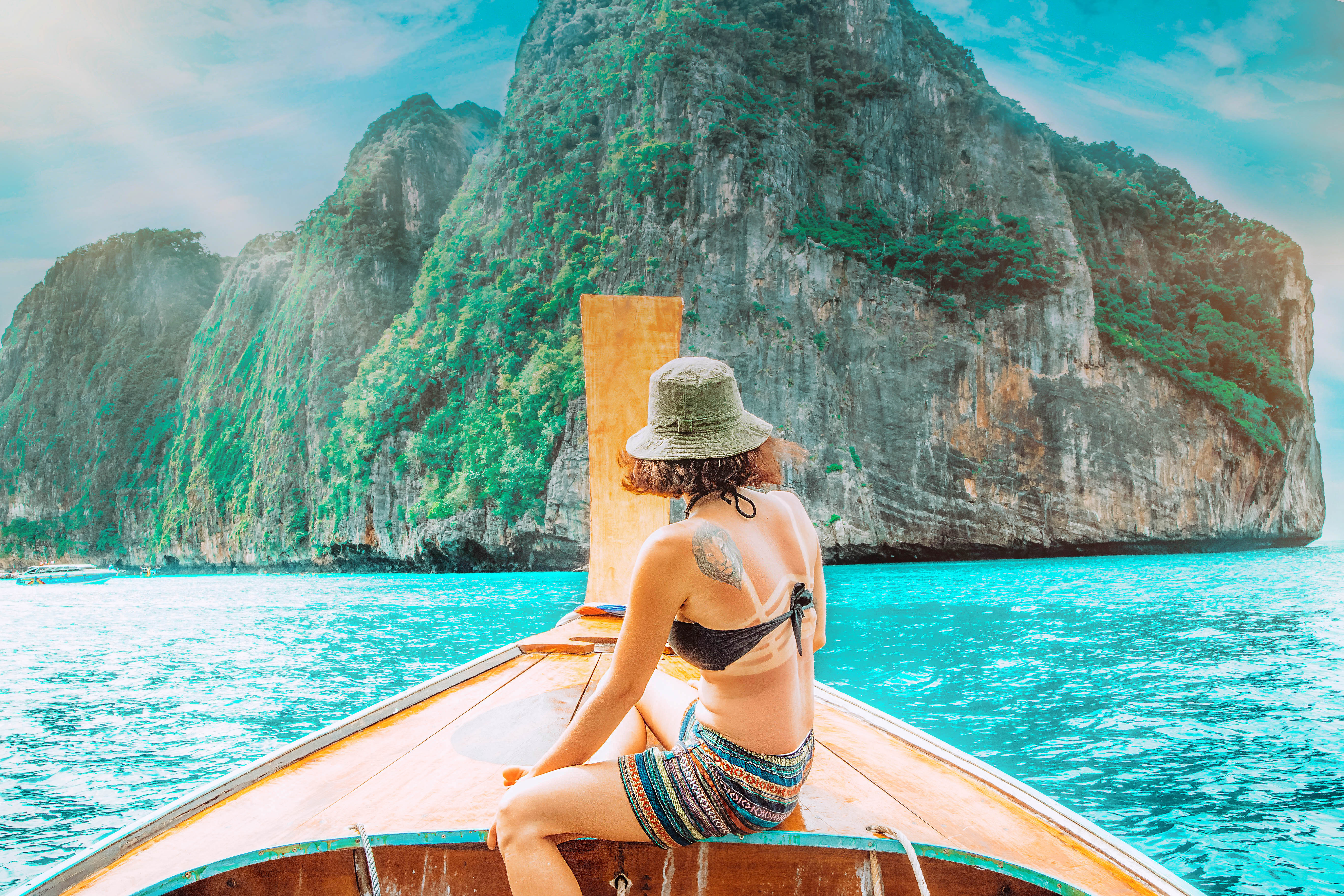 phi phi islands boat trip maya beach thailand south east asia water blue palms island hopping