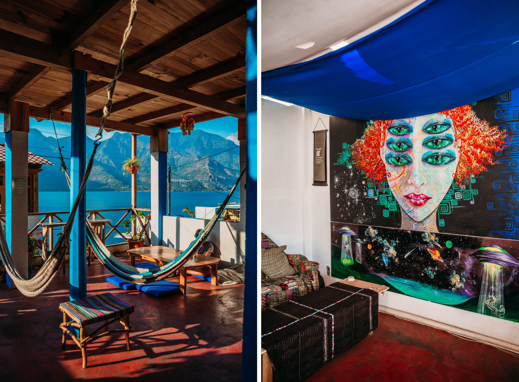 guatemala lake atitlan lago central america most beautiful lake in the world blue water sunny day street dogs puppie deck san juan la laguna volunteer worldpackers mayachik eco hostel sustainable local people lush green san marcos coffee vegan food garden delicious healthy smoothie vegan pizza vegan burrito interior