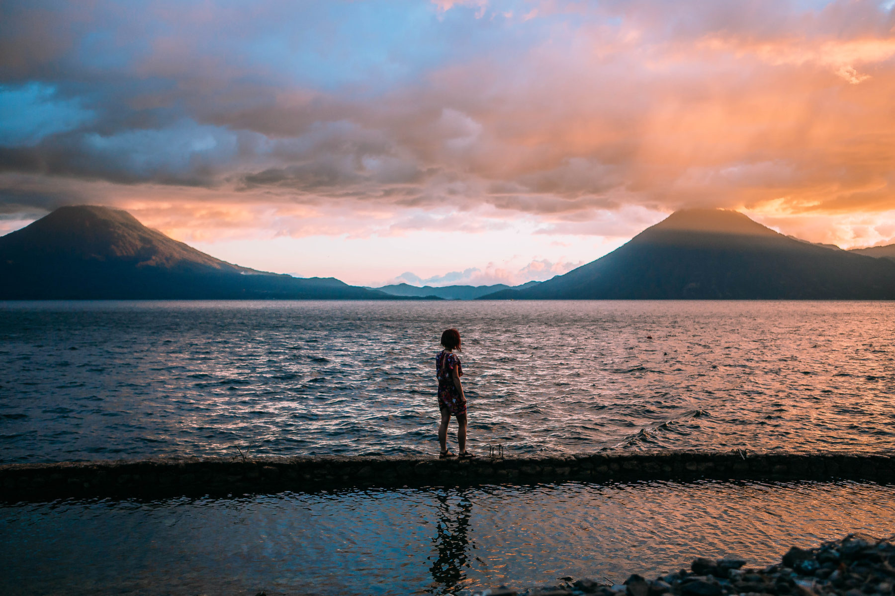 guatemala lake atitlan lago central america most beautiful lake in the world volcanoes sky on fire sunset