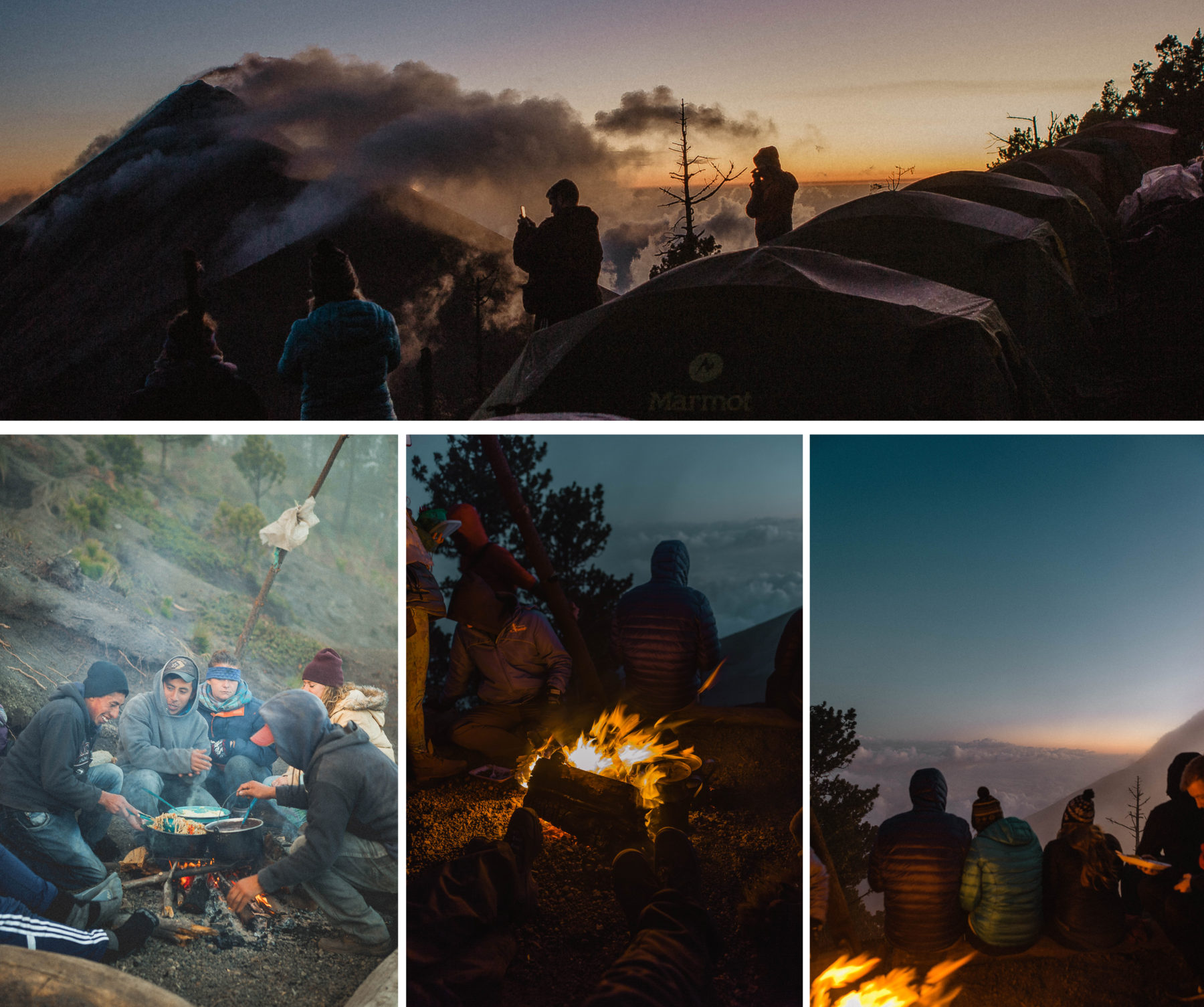 volcano acatenango sunrise tour guatemala central america adventure orange sky cloud forest misty green above the clouds campfire camp above the clouds