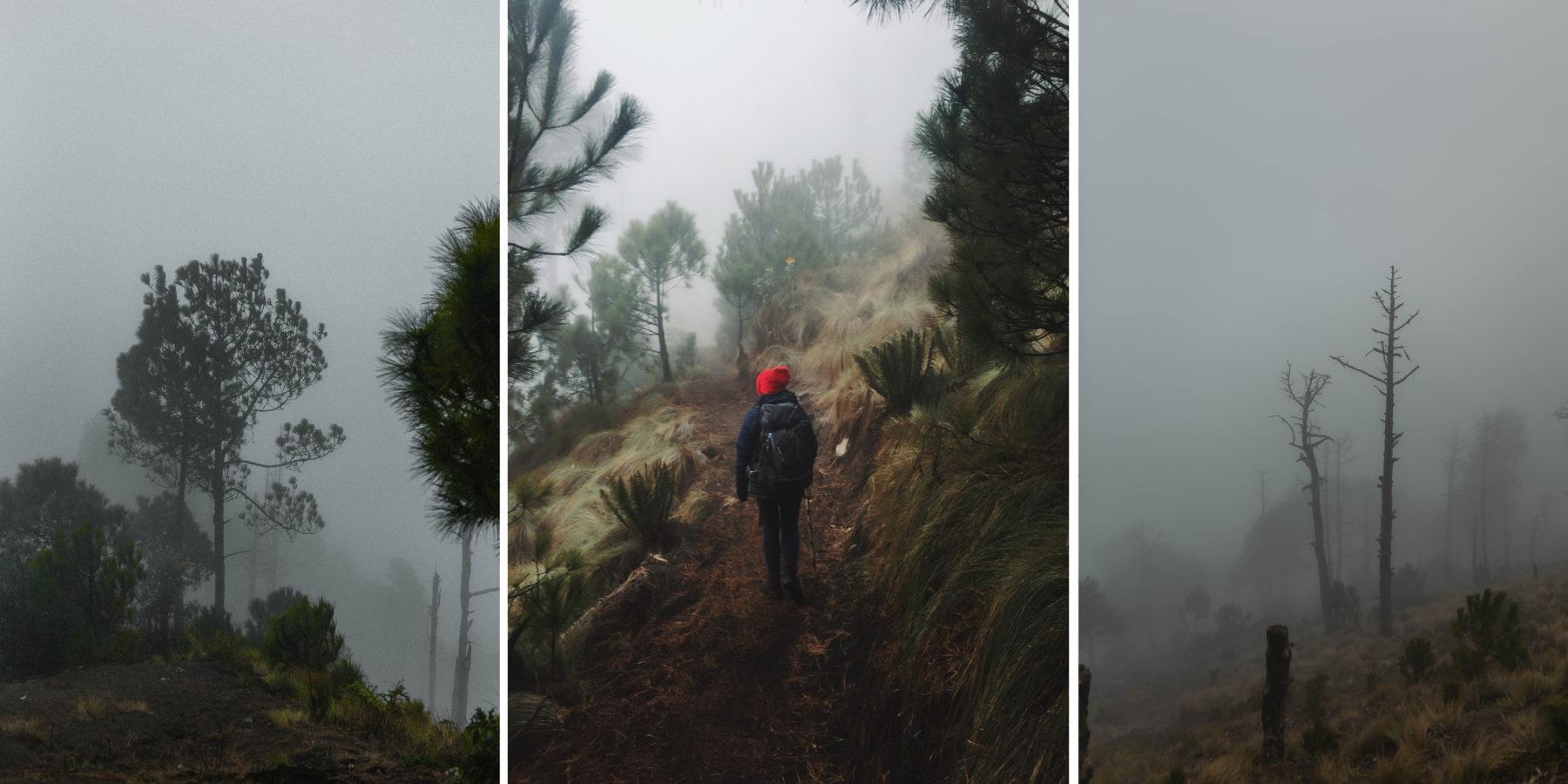 volcano acatenango sunrise tour guatemala central america adventure orange sky cloud forest misty green above the clouds