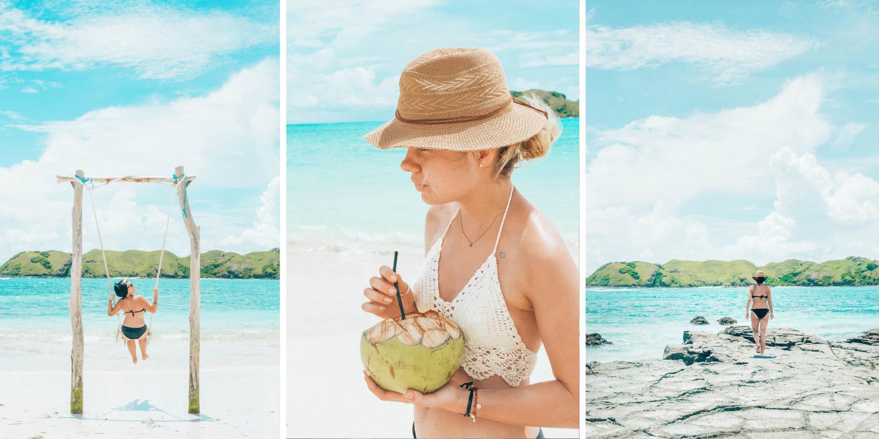 lombok blue water beach time relax friendship ocean tan lombok indonesia coconut water