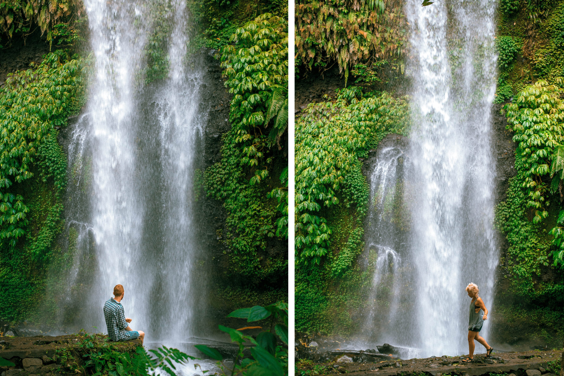 lombok indonesia waterfall green lush jungle exploring traveling