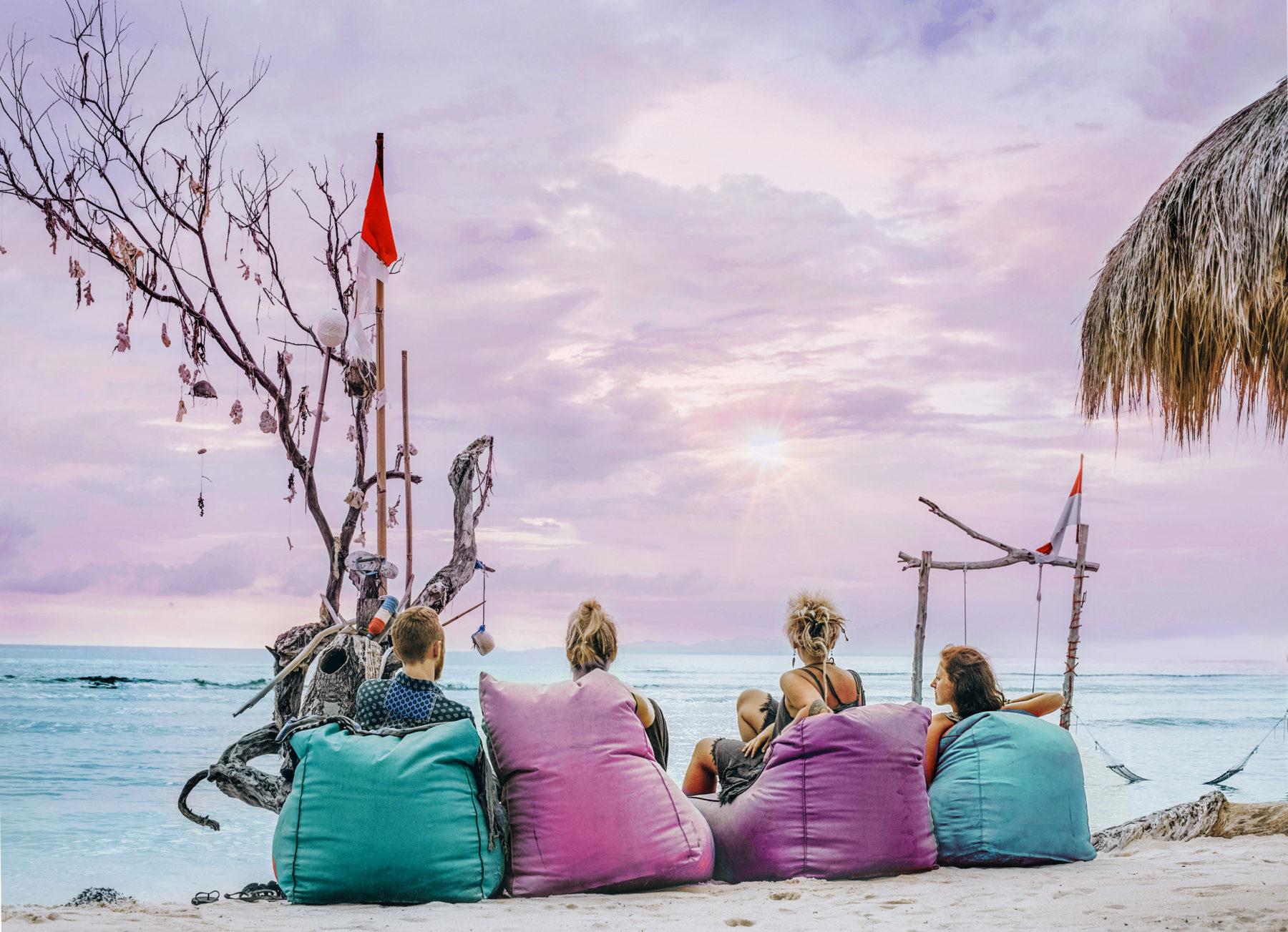 friendship pink sky sunset beach gili islands indonesia
