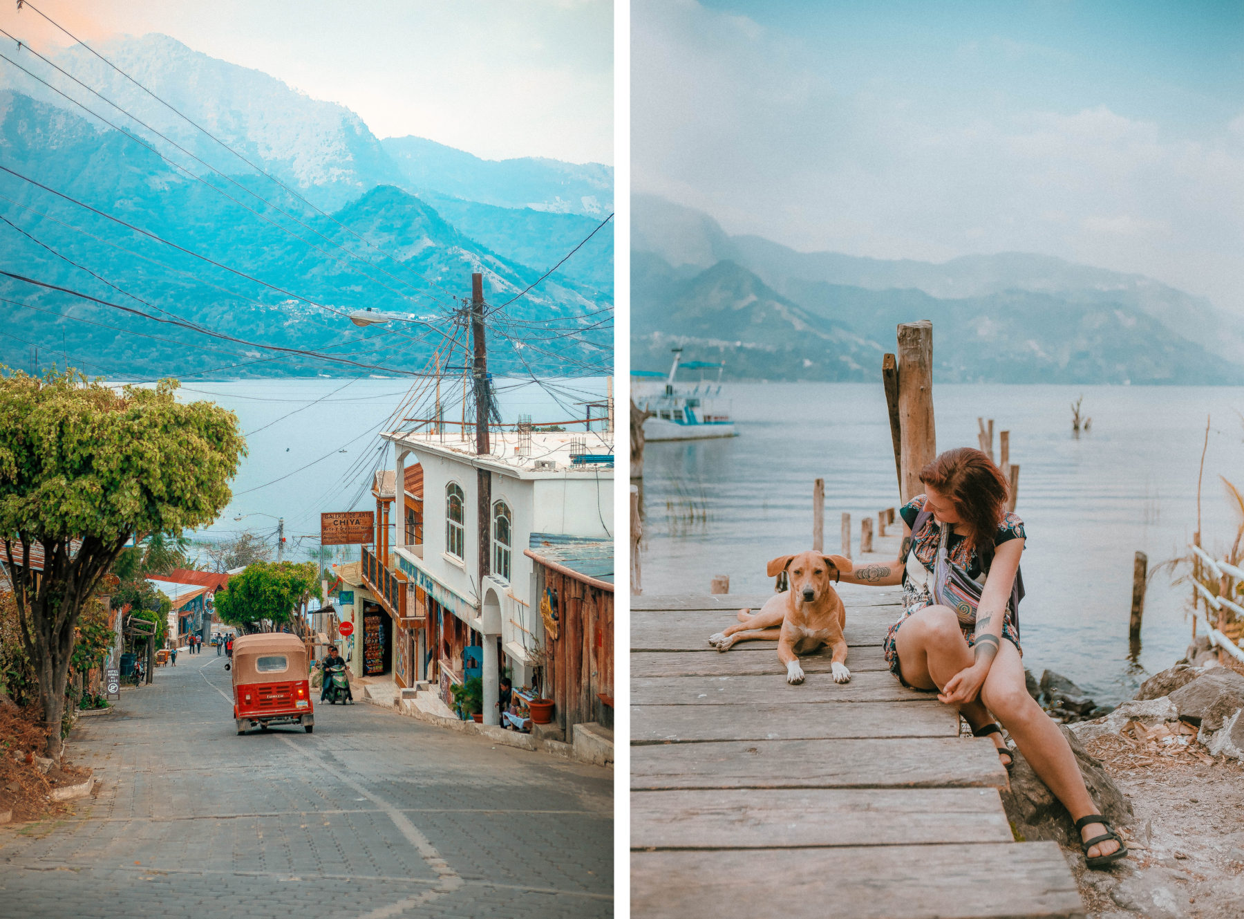 guatemala lake atitlan lago central america most beautiful lake in the world blue water sunny day street dogs puppie deck san juan la laguna