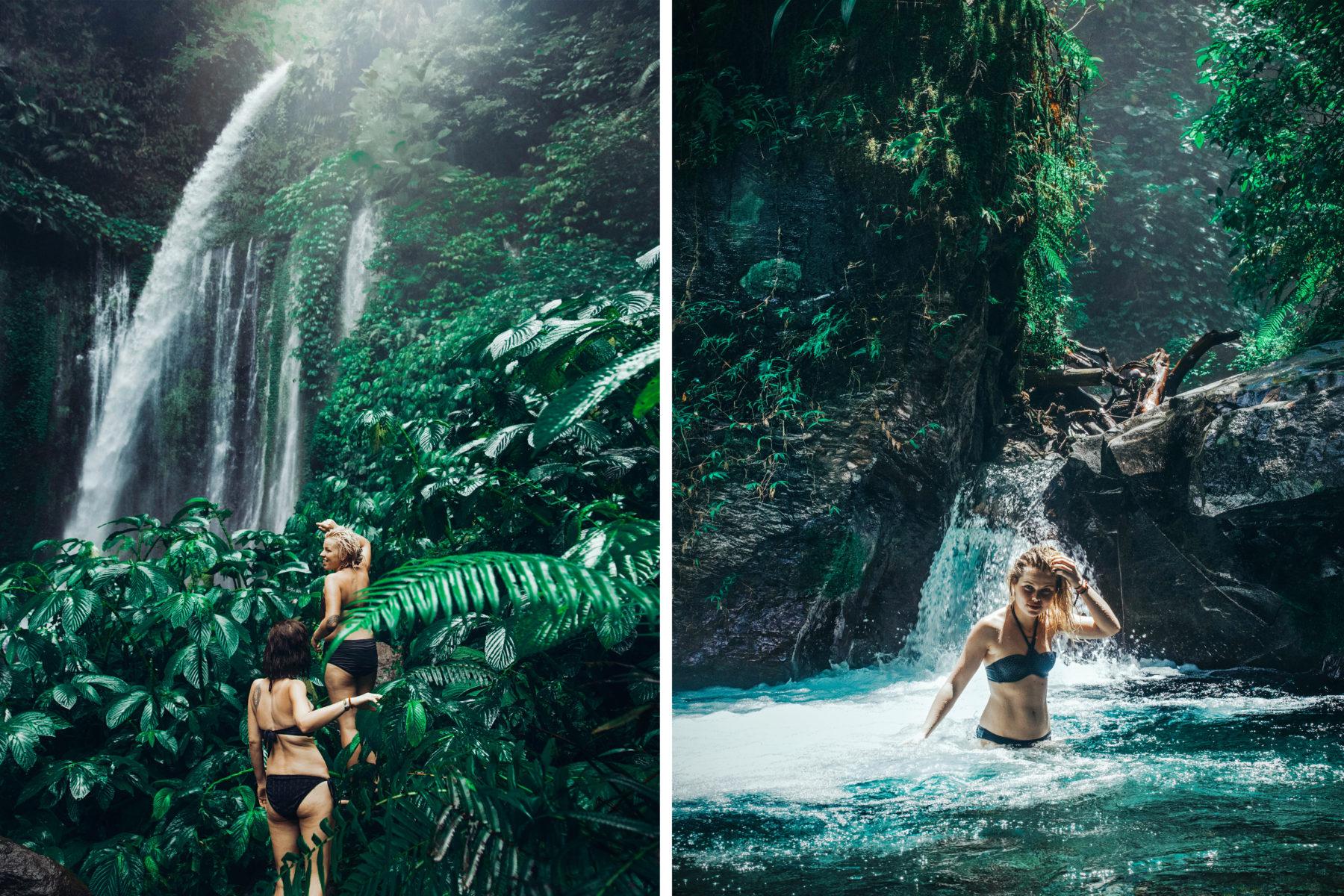 lombok indonesia waterfall green lush jungle exploring traveling swim jungle tiu kelep