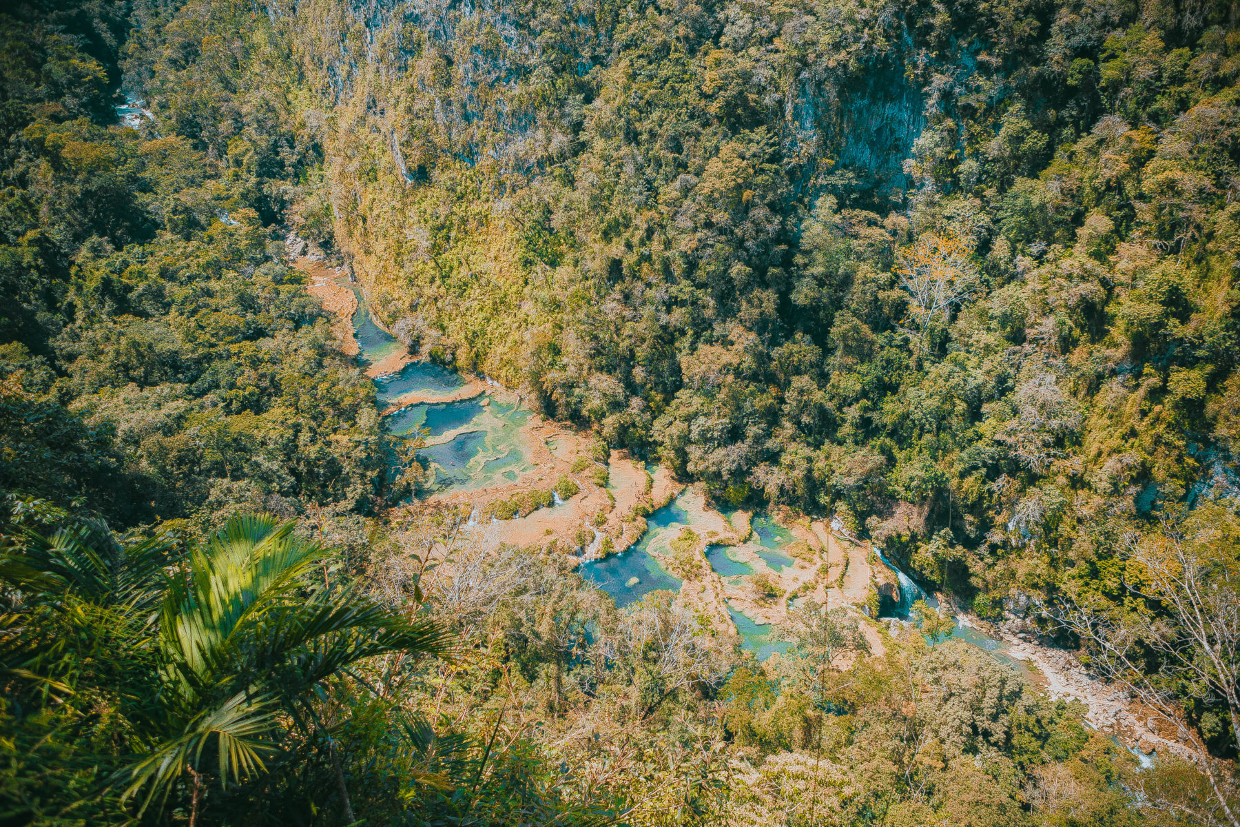 guatemala semuc champey turquoise pools jungle green humid swim adventure far away hidden paradise