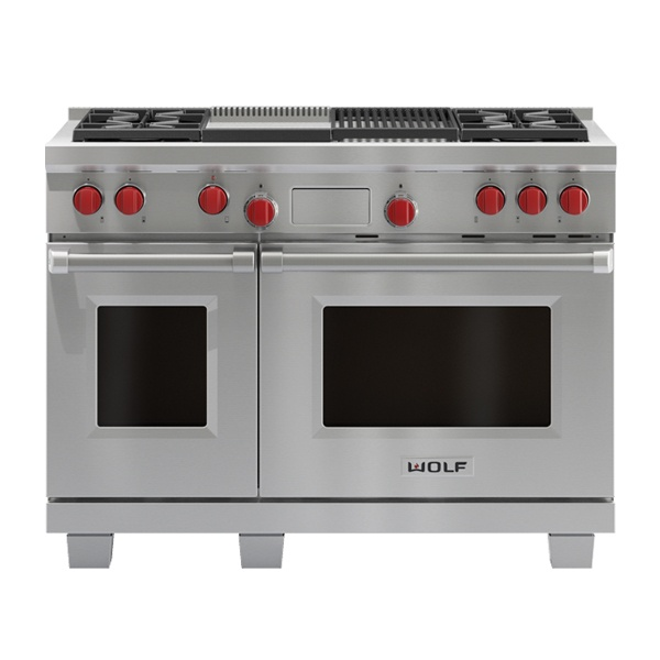 wolf ICBDF484CG-1219MM-DUAL-FUEL-RANGE-WITH-CHARBROILER-AND-GRIDDLE