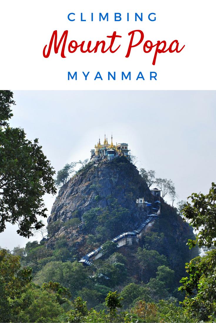 Climbing Mount Popa in Myanmar, surrounded by monkeys!