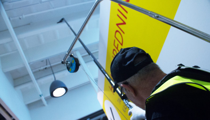 Using our high reach cleaning tools in Ikea store