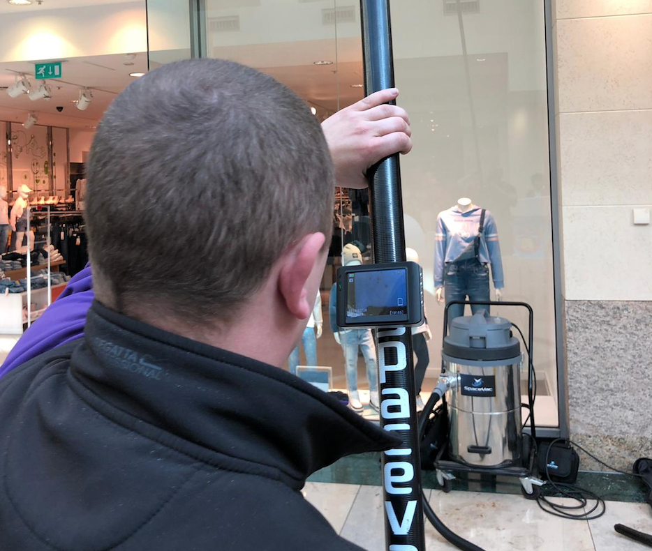 Commercial cleaning- high level cleaning a shop front