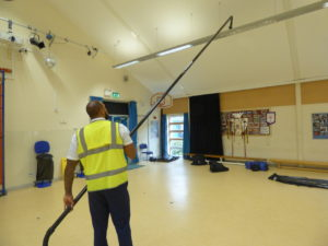 Grant demonstrate internal high reach cleaning equipment