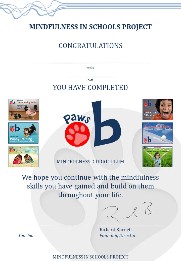 Mindfulness in Schools (MiSP) courses in Devon- Image of Paws b certificate.