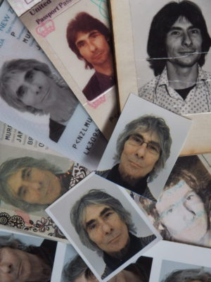 "A number of passport photos ofJames (Muzz) Murray illustrating the quote '""We are the sum total of our experiences. Those experiences – be they positive or negative – make us the person we are, at any given point in our lives."" From George by BJ Neblett"