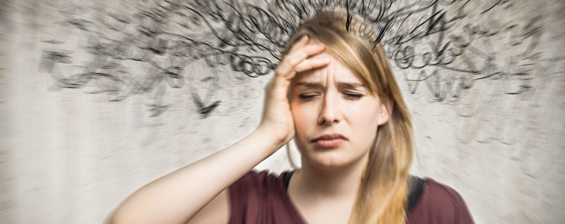 Image of young woman with graphic of a confused mind