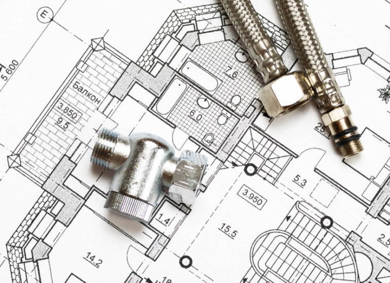 Pipes over house plan blueprints - Bristol Plumbing and Heating