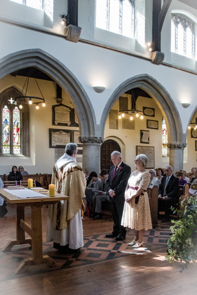 Older couple getting married at Woodstock Church Oxfordshire