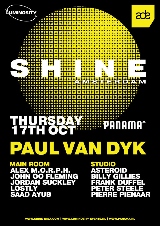 Paul van Dyk presents SHINE Amsterdam at Panama Club for ADE 2019 on 17th of October 2019