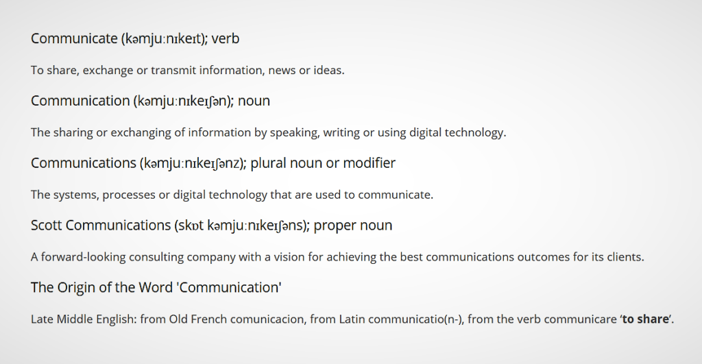 Communications definitions