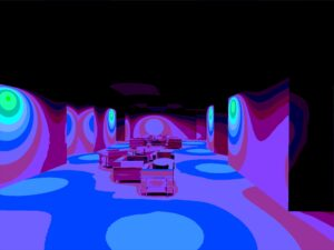 Dialux care home seating area simulated emergency in 3D Pseudo Colour