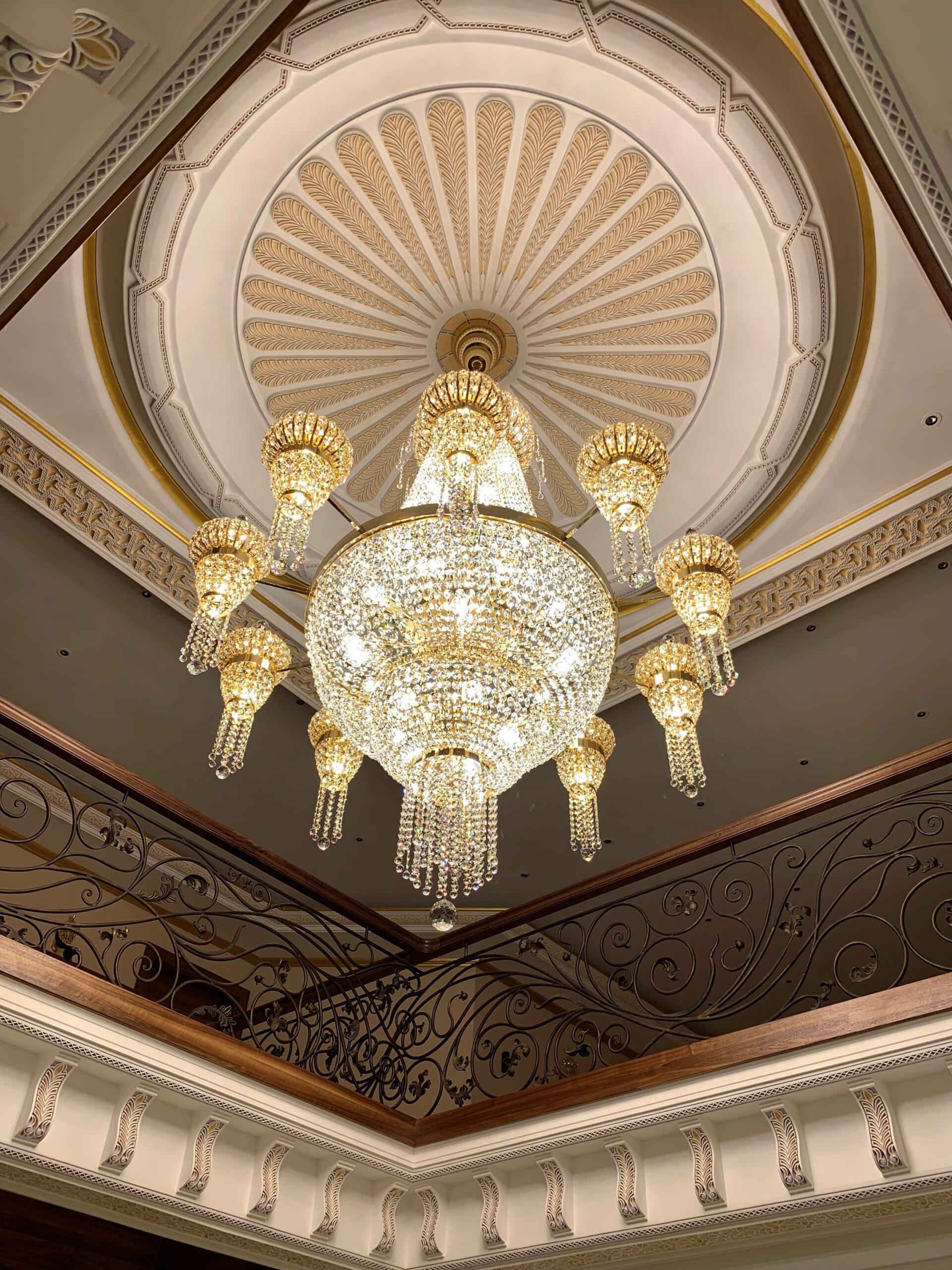 Installed large bespoke crystal chandelier