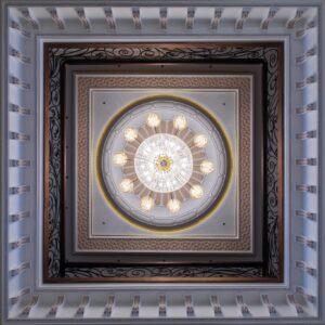 Installed large crystal bespoke chandelier looking from below