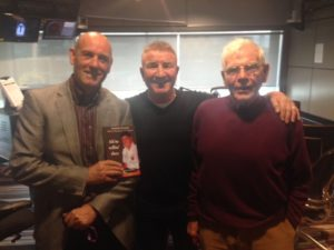 Photo of Ian Seddon left, Tommy Banks right, taking part in a radio interview during the launch of Ahm' Tellin' Thee - a biography of Tommy Banks, Bolton Wanderers