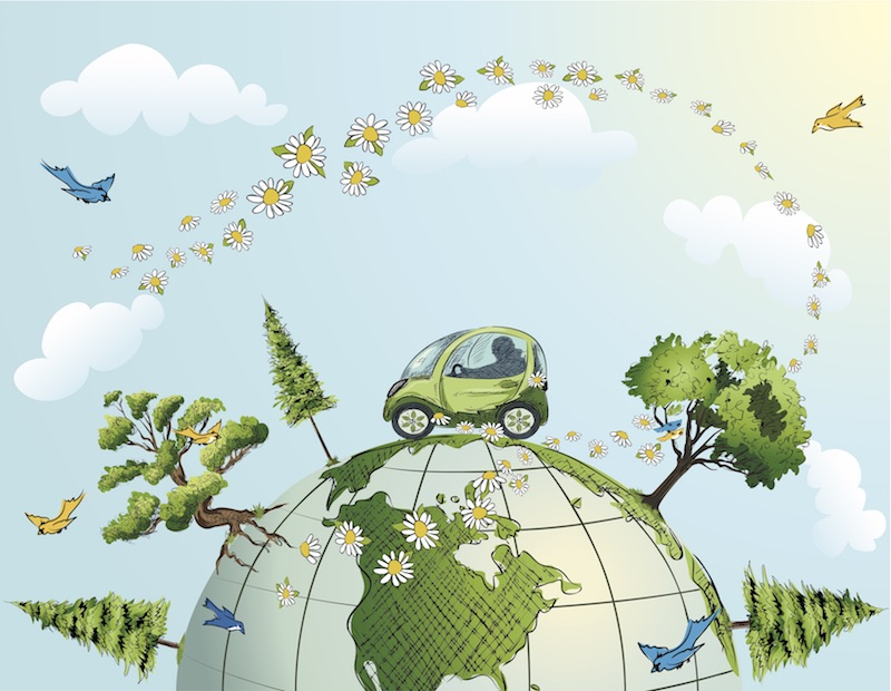 Green painted one person car on illustrated globe with daisies and trees and birds to represent a sustainable energy future.