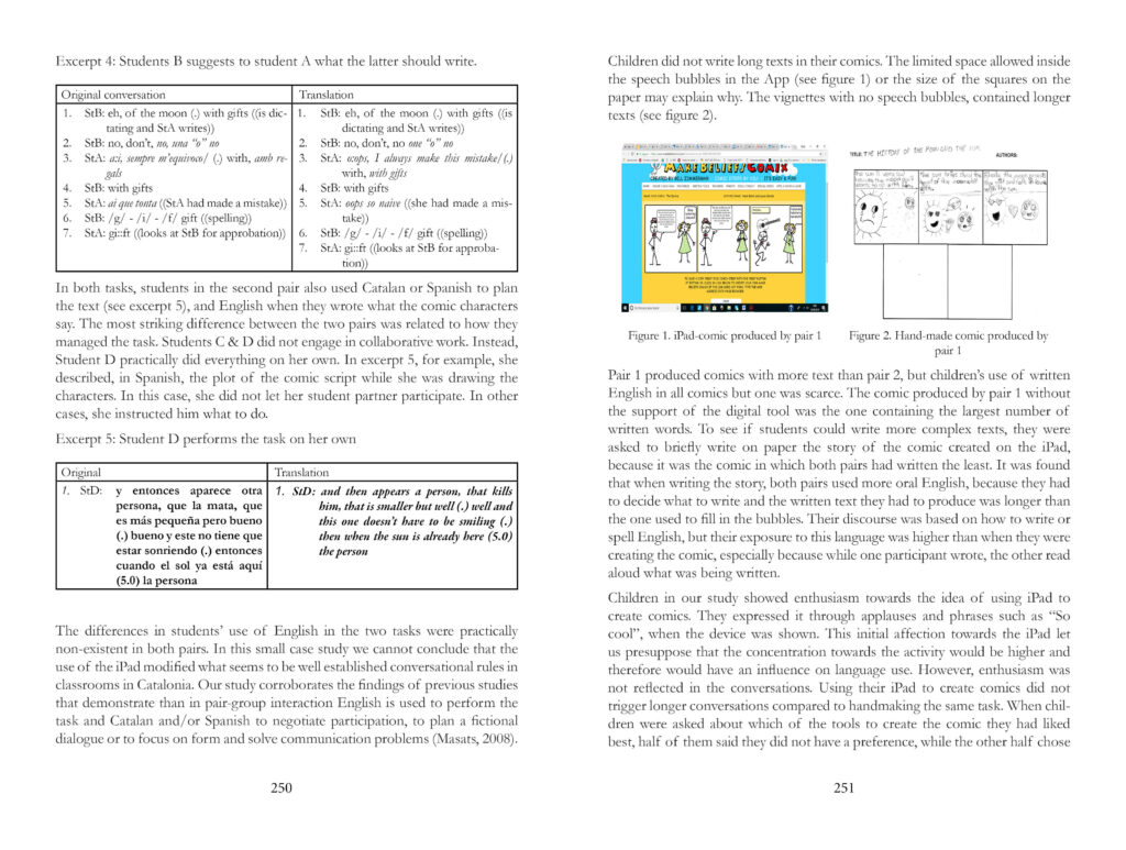 Two page spread of Joint Innovations book by Dolors Masats showing a table on the left page and some teaching materials on the right hand page.