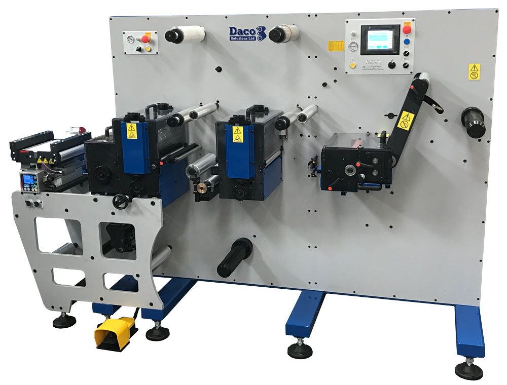 Daco D250 with 2 rotary die station and web advance