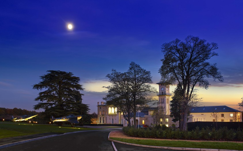 Front of Bentley Priory Museum at night