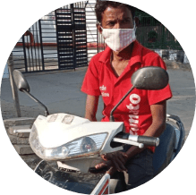 customer on his rented electric scooter in gurgaon