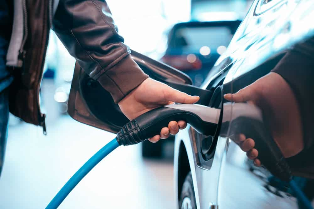 Electric Vehicle being charged at a charging point
