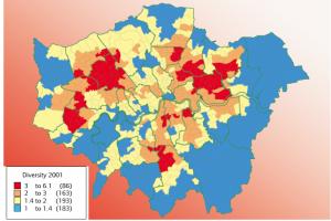 London's ethnic population diversity 2001