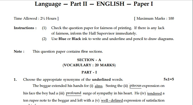 10th English Important Questions