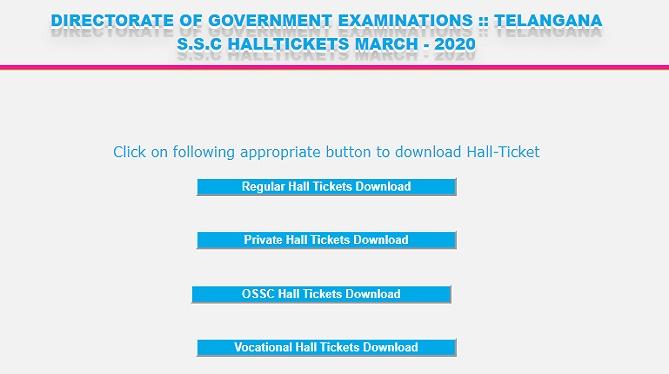 Telangana 10th Hall Tickets March 2020