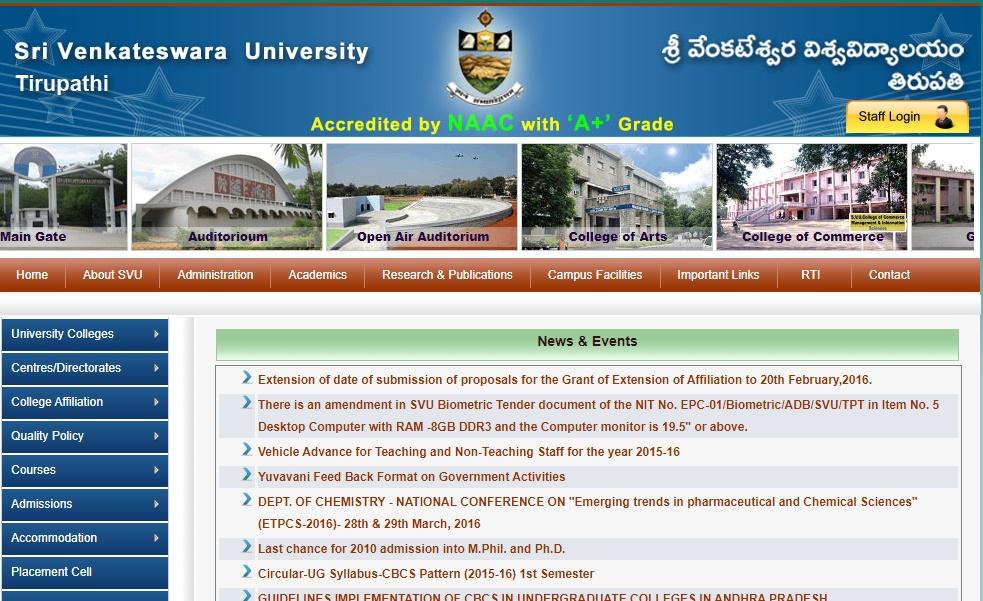 Manabadi SVU Degree Results Nov/Dec 2019