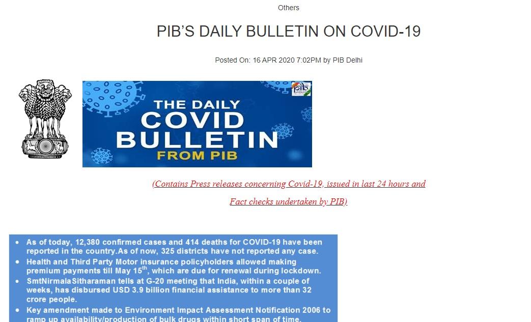 PIB India COVID-19 Bulletin
