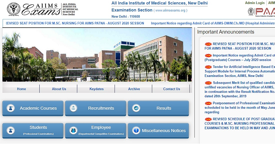 AIIMS PG Entrance Exam Admit Card July 2020